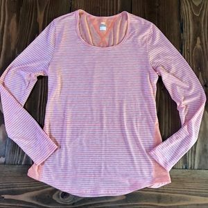 LUCY Long Sleeve Striped Coral Workout Tee